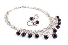 Necklace with black pearls. On a white background Stock Photo