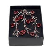 Necklace in black velvet box Royalty Free Stock Photography