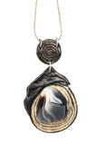 Necklace with black and white agate Royalty Free Stock Photo