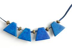 Necklace with blue gems Royalty Free Stock Photos