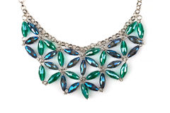 Necklace with blue and green rhinestones Stock Photography