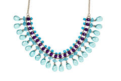 Necklace with blue stones. Royalty Free Stock Images