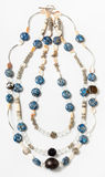 Necklace from bone, nacre, artificial stone beads Stock Photo