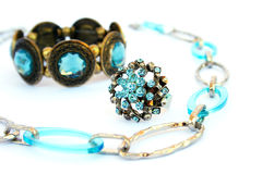 Necklace, bracelet and ring Royalty Free Stock Photography