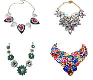 Necklace with bright crystals jewelry Stock Photos