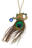 Necklace on a chain, blue stone and peacock feather. Stock Photography