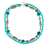 Necklace from chrysocolla natural gem stone balls Royalty Free Stock Photos