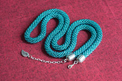 Necklace of color aquamarine from beads Stock Image
