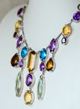 Necklace with colored precious jewel Stock Photography