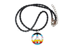 Necklace with colorful hippie icon Stock Photos