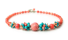 Necklace of coral and turquoise Stock Image