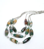 Necklace with crazy agate Stock Photos