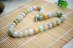 A necklace of different jade beads Royalty Free Stock Image