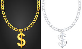 Necklace with dollar sign Stock Image