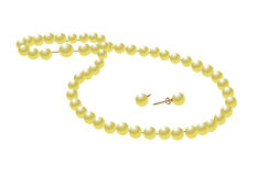 Necklace and earrings. Of pearls in the Stock Photography