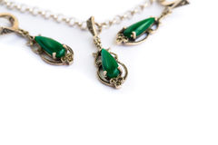 Necklace and earrings stock photography