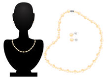 Necklace and earrings from pearls Stock Photo
