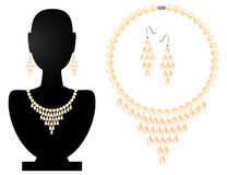 Necklace and earrings from pearls Royalty Free Stock Image