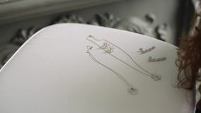 Necklace and earrings. On tray stock footage