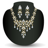 Necklace and earrings, wedding womens diamond Stock Image