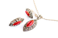 Necklace and earrings stock image