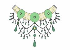 Necklace of emeralds. Vector Illustration of jewelry, EPS 8 file Vector Illustration