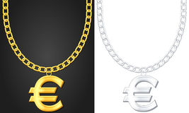 Necklace with euro symbol Stock Image