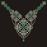 Necklace female embroidery emerald and gold rhinestones, precious stones, gems, fashion. Print t-shirt shine from brilliant stones, gift for wedding, birthday Stock Photography