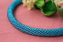 Necklace fragment from beads of turquoise color Stock Image