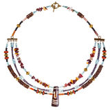 Necklace from gemstones and coconut beads Stock Photos