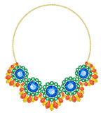 Necklace on a gold chain. Necklace of colored stones on a gold chain Stock Image