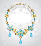 Necklace with gold flowers Stock Image