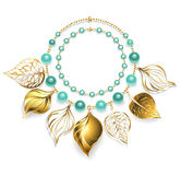 Necklace of golden leaves Royalty Free Stock Images
