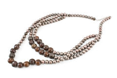 Necklace with gray beads Royalty Free Stock Photos