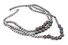 Necklace with gray beads Royalty Free Stock Photo