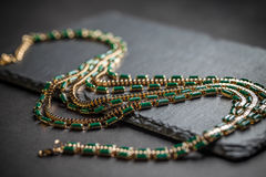 Necklace with green stones Stock Image
