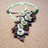 Necklace handmade from polymer clay and wire Royalty Free Stock Photography