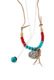 Necklace handmade with red and blue beads Royalty Free Stock Photos