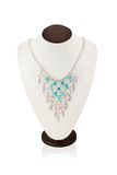 Necklace handmade on a white mannequin Royalty Free Stock Photography