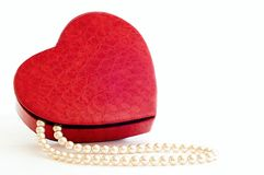 Necklace in a heart case. Necklace and case shaped heart on white ground Stock Images