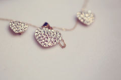 Necklace with heart shaped pendant stock photos