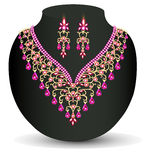 Necklace with her wedding with red precious stones Royalty Free Stock Photography
