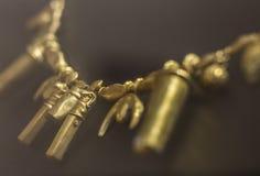 Necklace with horus head bead from Tartessos Hoard of Aliseda, C. Aliseda, Spain - October 29, 2017: Necklace with horus head bead from Tartessos Hoard of stock photos