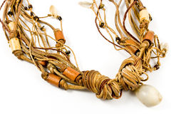 Necklace with leather strips amd spiral shell Stock Photos