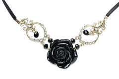 Necklace made of black stone roses. Royalty Free Stock Images