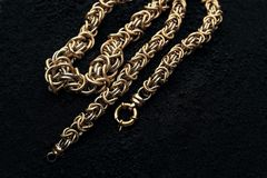Necklace made of gold, dignified stock images