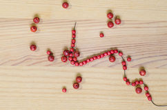 Necklace made with  red wooden beads Stock Images