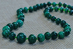 Necklace malachite Stock Photos