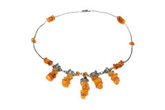 Necklace from natural amber Stock Photography