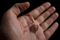 Necklace on the palm Royalty Free Stock Image